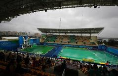 2016 Rio Olympics - Water Polo - Preliminary - Men's Preliminary Round - Group A Australia v Japan - Maria Lenk Aquatics Centre - Rio de Janeiro, Brazil - 10/08/2016. Water turns green in the diving pool of the Aquatics Centre. REUTERS/Kai Pfaffenbach
