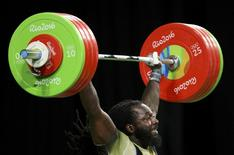 2016 Rio Olympics - Weightlifting - Final - Men's 94kg - Riocentro - Pavilion 2 - Rio de Janeiro, Brazil - 13/08/2016. Kendrick Farris (USA) of USA competes. REUTERS/Stoyan Nenov