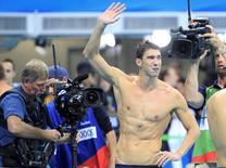 2016 Rio Olympics - Swimming - Final - Men's 4 x 100m Medley Relay Final - Olympic Aquatics Stadium - Rio de Janeiro, Brazil - 13/08/2016. Michael Phelps (USA) of USA reacts.  REUTERS/Dominic Ebenbichler