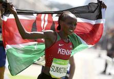 Jemima Sumgong, vence maratona na Rio 2016 14/08/2016 REUTERS/Sergio Moraes
