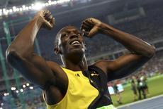 Bolt conquista ouro nos 100m rasos.  14/08/2016.     REUTERS/Kai Pfaffenbach