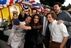 "Cast member Salma Hayek takes a selfie with co-stars (L-R) Nick Kroll, Paul Rudd, Seth Rogen, Michael Cera and Danny McBride at the premiere for the movie ""Sausage Party"" in Los Angeles, California U.S., August 9, 2016.   REUTERS/Mario Anzuoni"