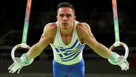 2016 Rio Olympics - Artistic Gymnastics - Final - Men's Rings Final - Rio Olympic Arena - Rio de Janeiro, Brazil - 15/08/2016. Eleftherios Petrounias (GRE) of Greece competes.  REUTERS/Mike Blake