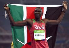 2016 Rio Olympics - Athletics - Final - Men's 800m Final - Olympic Stadium - Rio de Janeiro, Brazil - 15/08/2016. David Lekuta Rudisha (KEN) of Kenya celebrates after winning the race   REUTERS/Dylan Martinez