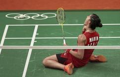 2016 Rio Olympics - Badminton - Women's Singles - Gold Medal Match - Riocentro - Pavilion 4 - Rio de Janeiro, Brazil - 19/08/2016. Carolina Marin (ESP) of Spain celebrates at her match against P.V. Sindhu (IND) of India.     REUTERS/Alkis Konstantinidis