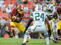 Aug 19, 2016; Landover, MD, USA; Washington Redskins running back Matt Jones (31) runs with the ball in the first quarter against the New York Jets at FedEx Field. Mandatory Credit: Evan Habeeb-USA TODAY Sports