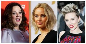 Atrizes Melissa McCarthy, Jennifer Lawrence e Scarlett Johansson em fotografia combinada.       REUTERS/Shannon Stapleton/Mario Anzuoni/Stefan Wermuth/File Photos