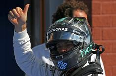 Belgium Formula One - F1 - Belgian Grand Prix 2016 - Francorchamps, Belgium - 27/8/16 - Mercedes' Nico Rosberg of Germany reacts after qualifying in pole position. REUTERS/Olivier Matthys/Pool