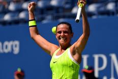 Aug 29, 2016; New York, NY, USA; Roberta Vinci of Italy after beating Anna-Lena Friedsam of Germany on day one of the 2016 U.S. Open tennis tournament at USTA Billie Jean King National Tennis Center. Mandatory Credit: Robert Deutsch-USA TODAY Sports