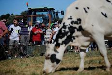 Lactalis, la mayor empresa láctea del mundo, alcanzó un acuerdo con los productores de leche franceses para subir los precios que paga a los proveedores, por lo que los ganaderos desconvocaron sus protestas, dijeron la empresa y los sindicatos. En la imagen, productores lácteos protestan en un bloqueo del acceso a una planta de Lactalis en Laval, Francia, el 23 de agosto de 2016.  REUTERS/Stephane Mahe