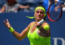 Aug 31, 2016; New York, NY, USA; Petra Kvitova of the Czech Republic hits to Cagla Buyukakcay of Turkey on day three of the 2016 U.S. Open tennis tournament at USTA Billie Jean King National Tennis Center. Mandatory Credit: Robert Deutsch-USA TODAY Sports
