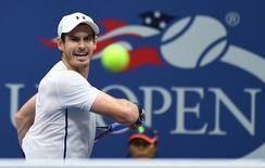 Sept 1, 2016; New York, NY, USA; Andy Murray of the UK hits to Marcel Granollers of Spain (not pictured) on day four of the 2016 U.S. Open tennis tournament at USTA Billie Jean King National Tennis Center. Mandatory Credit: Robert Deutsch-USA TODAY Sports