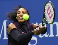 Sept 1, 2016; New York, NY, USA; Serena Williams of the USA hits to Vania King of USA (not pictured) on day four of the 2016 U.S. Open tennis tournament at USTA Billie Jean King National Tennis Center. Mandatory Credit: Robert Deutsch-USA TODAY Sports