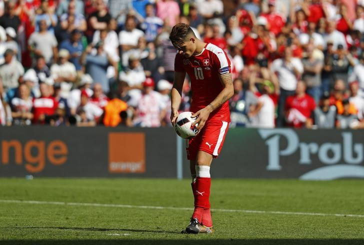 Football Soccer - Switzerland v Poland - EURO 2016 - Round of 16 - Stade Geoffroy-Guichard, Saint-?tienne, France - 25/6/16Switzerland's Granit Xhaka before missing during the penalty shootoutREUTERS/Kai PfaffenbachLivepic/Files