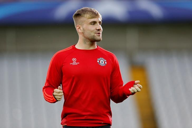 Football - Manchester United Training - Jan Breydel Stadium, Bruges, Belgium - 25/8/15Manchester United's Luke Shaw during trainingTo match Exclusive SOCCER-CHINA/STELLAR   Action Images via Reuters / Carl Recine/File Photo Livepic