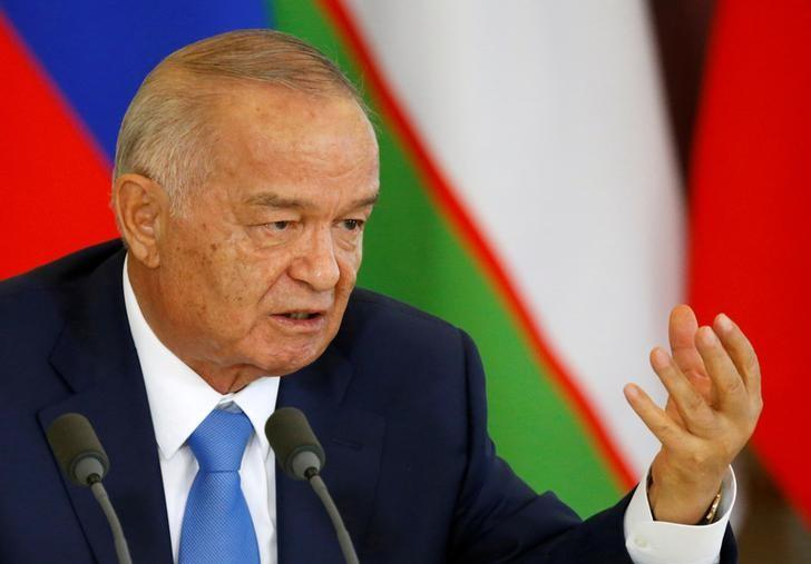 Uzbek President Islam Karimov speaks during a joint news conference with Russian President Vladimir Putin (not pictured) following their meeting at the Kremlin in Moscow, Russia, April 26, 2016. REUTERS/Maxim Shemetov/File Photo