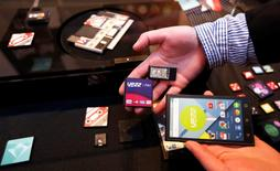 Prototype modular parts created by Yezz Mobile for Project Ara, Google's modular smartphone project, are shown during the Mobile World Congress in Barcelona March 1, 2015.   REUTERS/Gustau Nacarino