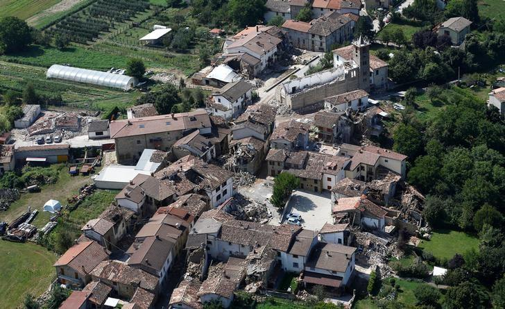 Collapsed houses and church are seen in Villa San Lorenzo a Flaviano village near Amatrice after earthquake that levelled the central Italy, September 1, 2016. REUTERS/Stefano Rellandini