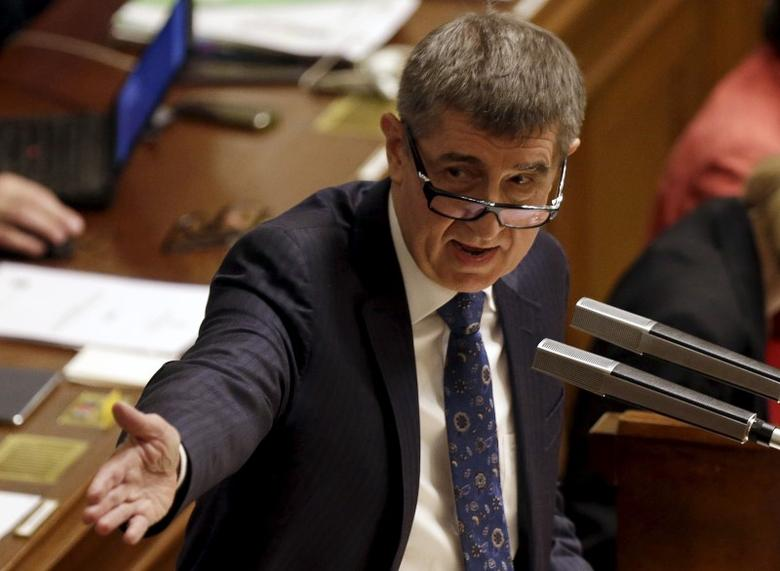 Czech Finance Minister Andrej Babis addresses an extraordinary parliamentary session to debate his alleged tapping of European Union subsidies for one of his companies in Prague, Czech Republic, March 23, 2016. REUTERS/David W Cerny/Files