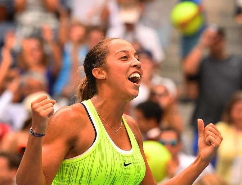 Madison Keys of the United States after beating Naomi Osaka of Japan on day five of the 2016 U.S. Open tennis tournament at USTA Billie Jean King National Tennis Center. Mandatory Credit: Robert Deutsch-USA TODAY Sports