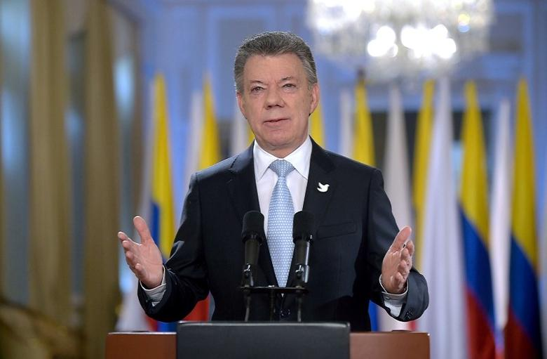 Colombia's President Juan Manuel Santos speaks during a Presidential address in Bogota, Colombia, August 24, 2016. Colombian Presidency /Handout via Reuters