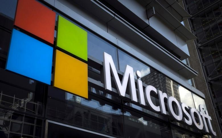 File photograph of Microsoft logo seen on an office building in New York City, July 28, 2015. REUTERS/Mike Segar/File Photo