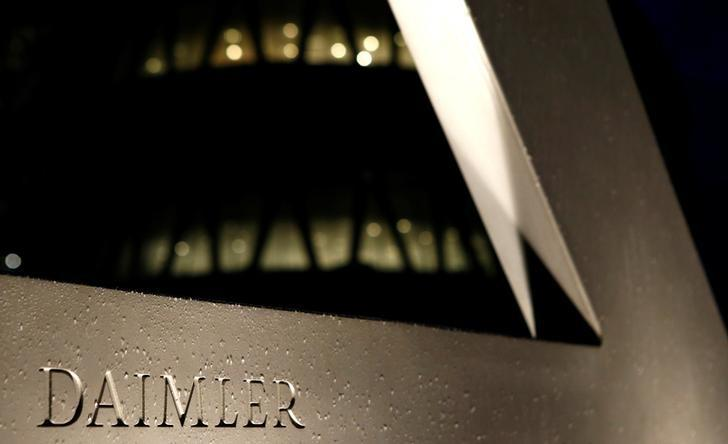 A Daimler sign name is pictured during the company's annual news conference in Stuttgart, Germany, February 4, 2016. REUTERS/Michaela Rehle/Files