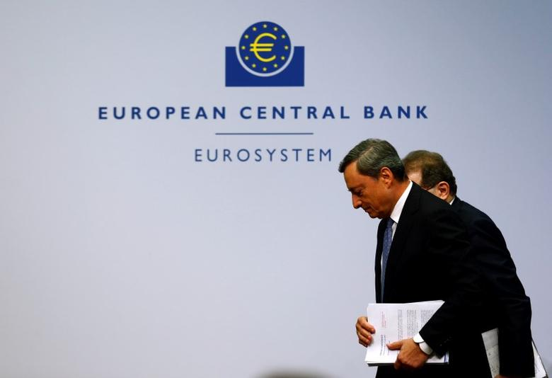 European Central Bank (ECB) president Mario Draghi (R) and vice president Vitor Constancio leave after a news conference at the ECB headquarters in Frankfurt, Germany, July 21, 2016.  REUTERS/Ralph Orlowski