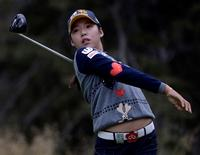 Aug 27, 2016; Calgary, Alberta, CAN;  Mi Hyang Lee of South Korea drives off the second tee box during the third round of the Canadian Pacific Women's Open at Priddis Greens Golf and Country Club. Mandatory Credit: Eric Bolte-USA TODAY Sports