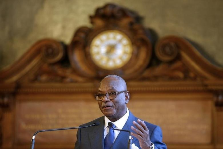 Mali's President Ibrahim Boubacar Keita delivers a speech during a conference at the Sorbonne University in Paris, France, October 21, 2015, as part of a three-day state visit to France. REUTERS/Christian Hartmann/Files