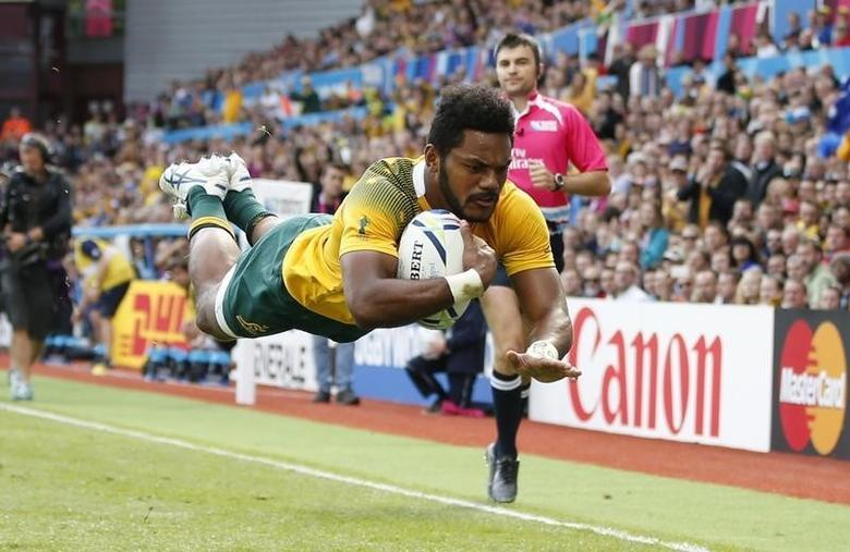 Rugby Union - Australia v Uruguay - IRB Rugby World Cup 2015 Pool A - Villa Park, Birmingham, England - 27/9/15Australia's Henry Speight scores their fourth tryAction Images via Reuters / Andrew BoyersLivepic