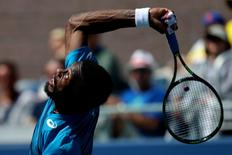 Sep 4, 2016; New York, NY, USA; Gael Monfils of France serves against Marcos Baghdatis of Cyprus (not pictured) on day seven of the 2016 U.S. Open tennis tournament at USTA Billie Jean King National Tennis Center. Monfils won 6-3, 6-2, 6-3. Mandatory Credit: Geoff Burke-USA TODAY Sports