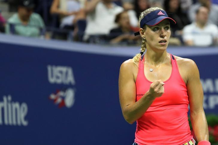Sep 4, 2016; New York, NY, USA; Angelique Kerber of Germany gestures after winning a game against Petra Kvitova of the Czech Republic (not pictured) on day seven of the 2016 U.S. Open tennis tournament at USTA Billie Jean King National Tennis Center. Kerber won 6-3, 7-5. Mandatory Credit: Geoff Burke-USA TODAY Sports