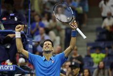 Sep 4, 2016; New York, NY, USA; Novak Djokovic of Serbia celebrates after his match against Kyle Edmund of Great Britain (not pictured) on day seven of the 2016 U.S. Open tennis tournament at USTA Billie Jean King National Tennis Center. Djokovic won 6-2, 6-1, 6-4. Mandatory Credit: Geoff Burke-USA TODAY Sports