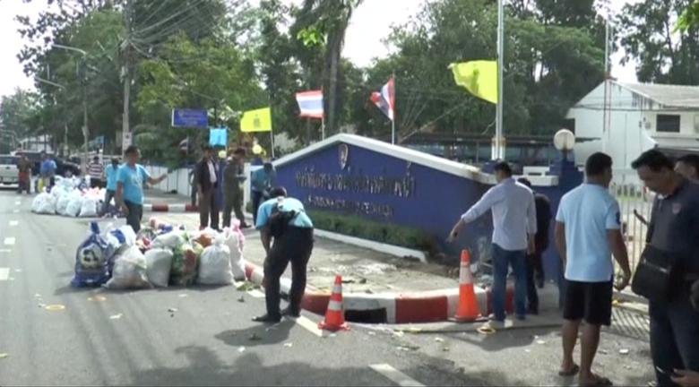 Officials check the scene after bomb blasts in the southern province of Surat Thani, Thailand in this still image from video August 12, 2016.   REUTERS/Reuters TV