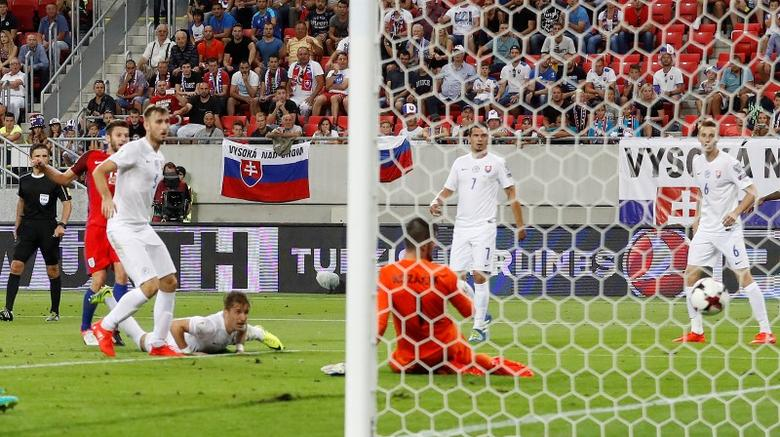 Football Soccer - Slovakia v England - 2018 World Cup Qualifying European Zone - Group F - City Arena, Trnava, Slovakia - 4/9/16England's Adam Lallana scores their first goal Action Images via Reuters / Carl RecineLivepicEDITORIAL USE ONLY.