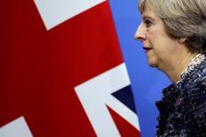 La primera ministra británica, Theresa May, sale tras terminar una conferencia de prensa en la cumbre del G-20, en Hangzhou, China. 5 de septiembre de 2016. La primera ministra de Reino Unido, Theresa May, dijo que desea que su país se convierta en líder global del libre comercio tras su salida de la Unión Europea. REUTERS/Damir Sagolj