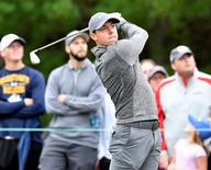 Sep 5, 2016; Norton, MA, USA; Rory McIlroy watches his tee shot on the 3rd hole during the final round of the 2016 Deutsche Bank Championship golf tournament at TPC of Boston. Mandatory Credit: Mark Konezny-USA TODAY Sports