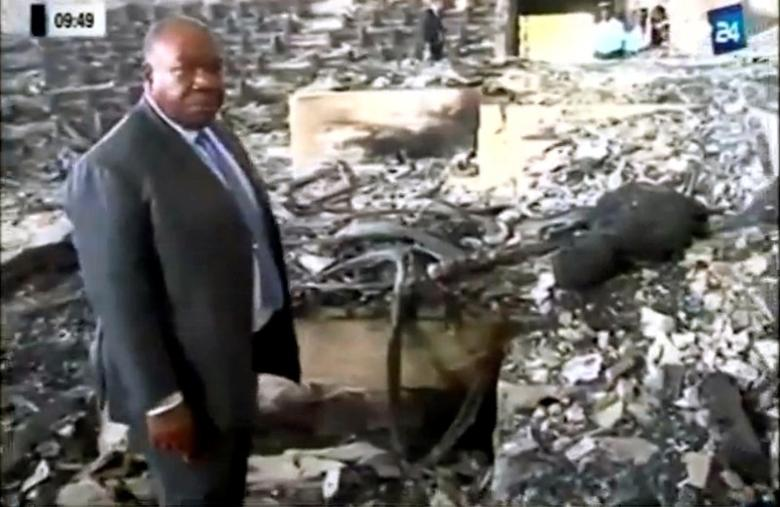 A still image from video of Gabon's President Ali Bongo visiting the national assembly a day after demonstrators opposed to his re-election set fire to the parliament building in Libreville, Gabon, September 2, 2016.  GABON 24 TV/Handout via Reuters