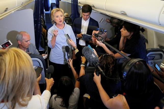 9月5日、米大統領選の民主党候補ヒラリー・クリントン氏は、ロシアが大統領選に関与していることを示す「信頼できる報告」があるとして懸念を表明した。写真はイリノイ州モリーンで5日撮影(2016年 ロイター/Brian Snyder)