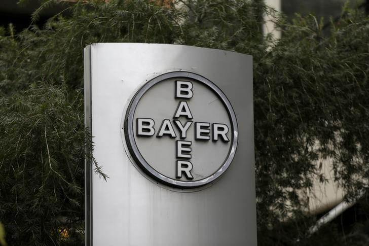 The corporate logo of Bayer is seen at the headquarters building in Caracas, Venezuela March 1, 2016. REUTERS/Marco Bello/File Photo/Files