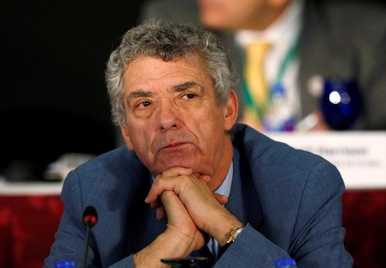 UEFA Acting President Angel Maria Villar Llona of Spain listens during the Conmebol Extraordinary Congress as part of the 66th FIFA Congress in Mexico City, Mexico, May 12, 2016. REUTERS/Henry Romero