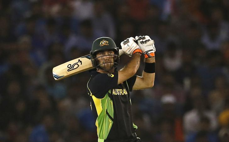 Cricket - India v Australia - World Twenty20 cricket tournament - Mohali, India - 27/03/2016. Australia's Glenn Maxwell plays a shot. REUTERS/Adnan Abidi/Files