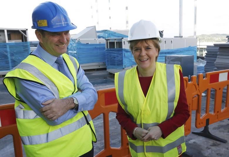 Scotland's First Minister Nicola Sturgeon views the construction work underway during a visit to the new Borroughmuir High School in Edinburgh, Scotland, Britain September 6, 2016. REUTERS/Russell Cheyne