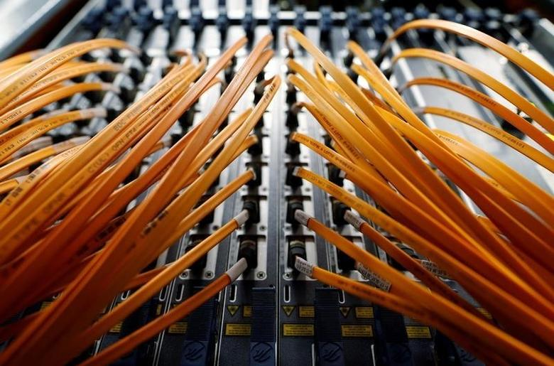 Optical fibre cables of Telecom Italia are seen in a telephone exchange in Rome, Italy December 20, 2013. REUTERS/Alessandro Bianchi/File Photo