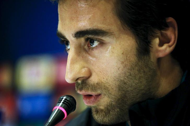 Football Soccer - Olympiakos vs Arsenal - Champions League Group stage - Group F, Athens, Greece - 08/12/15. Arsenal player Mathieu Flamini attends a news conference. REUTERS/Alkis Konstantinidis/Files