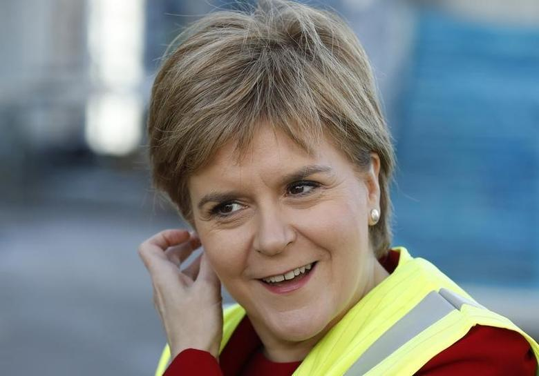 Scotland's First Minister Nicola Sturgeon views the construction work underway during a visit to the new Borroughmuir High School in Edinburgh, Scotland, Britain September 6, 2016. REUTERS/Russell Cheyne