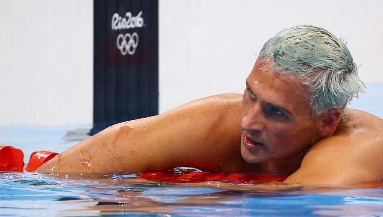 Ryan Lochte (USA) of USA reacts. REUTERS/David Gray/File Photo