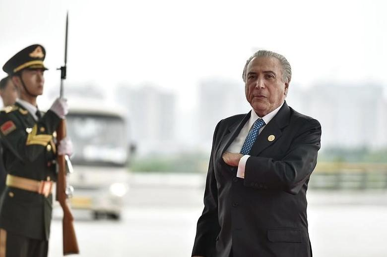 Brazilian President Michel Temer arrives at the Hangzhou Exhibition Center for the G20 Summit, in Hangzhou, Zhejiang province, China, September 4, 2016.  REUTERS/Etienne Oliveau/Pool