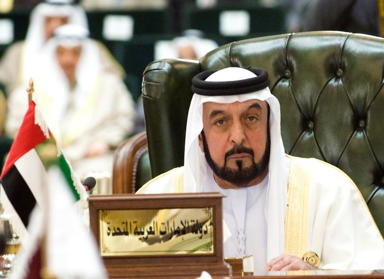 United Arab Emirates President Sheikh Khalifa bin Zayed al-Nahyan listens to closing remarks during the closing ceremony of the Gulf Cooperation Council (GCC) summit in Kuwait's Bayan Palace December 15, 2009. REUTERS/Stephanie McGehee
